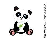 panda with bamboo branch on... | Shutterstock .eps vector #609200702