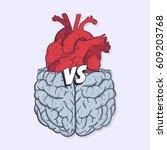heart vs brain. concept of mind ...   Shutterstock .eps vector #609203768