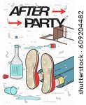 afterparty placard. drunk ... | Shutterstock .eps vector #609204482