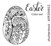 easter coloring page. hand... | Shutterstock .eps vector #609204812