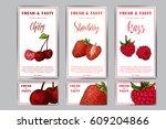 set of organic fruits cards.... | Shutterstock .eps vector #609204866