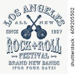 rock festival poster. rock and... | Shutterstock .eps vector #609205502