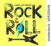 rock festival poster. rock and... | Shutterstock .eps vector #609205646