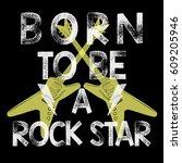rock festival poster. rock and... | Shutterstock .eps vector #609205946