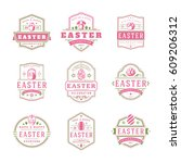 easter badges and labels vector ... | Shutterstock .eps vector #609206312