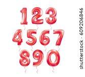 metallic red letter balloons 123 | Shutterstock .eps vector #609206846