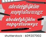 handwritten brush style modern... | Shutterstock .eps vector #609207002