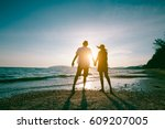romantic middle aged couple... | Shutterstock . vector #609207005