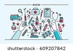 medicine lineart banner.... | Shutterstock .eps vector #609207842