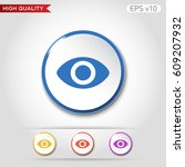 colored icon or button of eye... | Shutterstock .eps vector #609207932