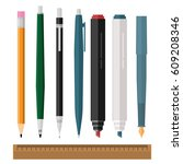 set of pens and pencils on a... | Shutterstock .eps vector #609208346