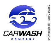 carwash company emblem. auto... | Shutterstock .eps vector #609210362