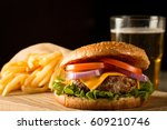 home made hamburger with beef ... | Shutterstock . vector #609210746