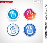 colored icon or button of peace ... | Shutterstock .eps vector #609212672