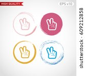 colored icon or button of peace ... | Shutterstock .eps vector #609212858