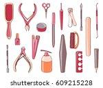 manicure equipment set....   Shutterstock .eps vector #609215228