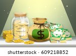 all kinds of money. pile... | Shutterstock .eps vector #609218852