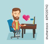 caucasian hipster man looking... | Shutterstock .eps vector #609220742