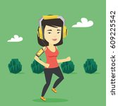 asian woman running with... | Shutterstock .eps vector #609225542