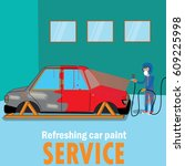 specialist spray painting auto... | Shutterstock .eps vector #609225998