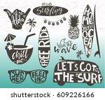 set of surfing logos templates. ...   Shutterstock .eps vector #609226166