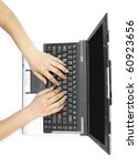 two female hands on the laptop... | Shutterstock . vector #60923656