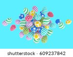 easter abstraction on a blue... | Shutterstock . vector #609237842