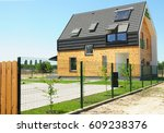 modern house building with... | Shutterstock . vector #609238376