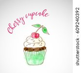 painted cake  dessert sketch... | Shutterstock .eps vector #609240392