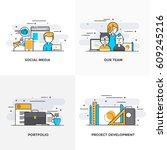 modern flat color line designed ... | Shutterstock .eps vector #609245216