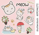 cute and sweet meow cat cartoon ... | Shutterstock .eps vector #609246272