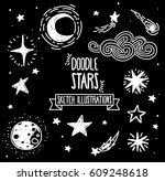 set of sketch stars  comets and ... | Shutterstock .eps vector #609248618