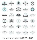 vintage logos design templates... | Shutterstock .eps vector #609251708
