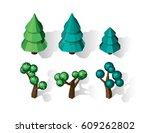 isometric vector tree set.... | Shutterstock .eps vector #609262802