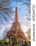eiffel tower in paris  france.... | Shutterstock . vector #609264722