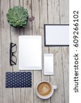 modern office desk with mock up ... | Shutterstock . vector #609266102