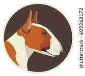 dog collection bull terrier red ... | Shutterstock .eps vector #609268172
