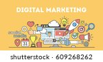 digital marketing concept... | Shutterstock . vector #609268262