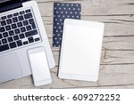 modern office desk with tablet  ... | Shutterstock . vector #609272252