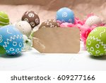 painted easter eggs and... | Shutterstock . vector #609277166