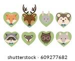 forest animal flat vector...   Shutterstock .eps vector #609277682