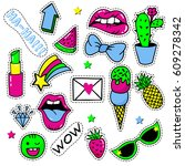 set of pop art stickers  badges ... | Shutterstock .eps vector #609278342