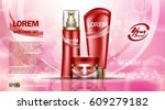 cosmetic set ads template ... | Shutterstock .eps vector #609279182