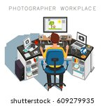 photographer workplace.... | Shutterstock .eps vector #609279935