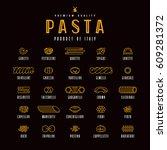 set of icons varieties of pasta.... | Shutterstock .eps vector #609281372
