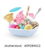 set of real chocolate lemon... | Shutterstock .eps vector #609284612