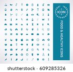 food and health care icon set... | Shutterstock .eps vector #609285326