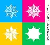 spider on web illustration.... | Shutterstock .eps vector #609287972