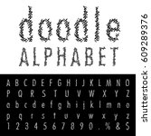 hand drawn font with doodle... | Shutterstock .eps vector #609289376