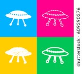 Ufo Simple Sign. Four Styles O...